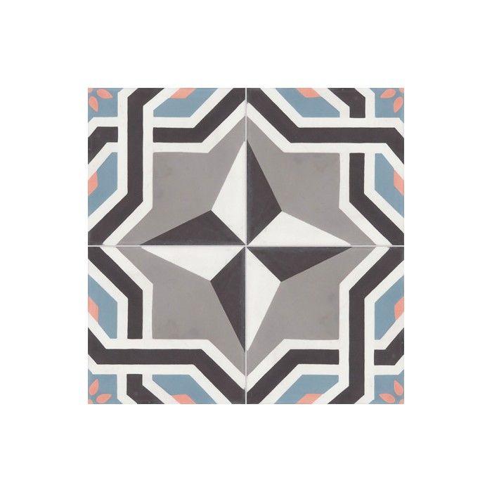 Carreau de ciment coloré motif 4 carreaux gris, noir, blanc, bleu et