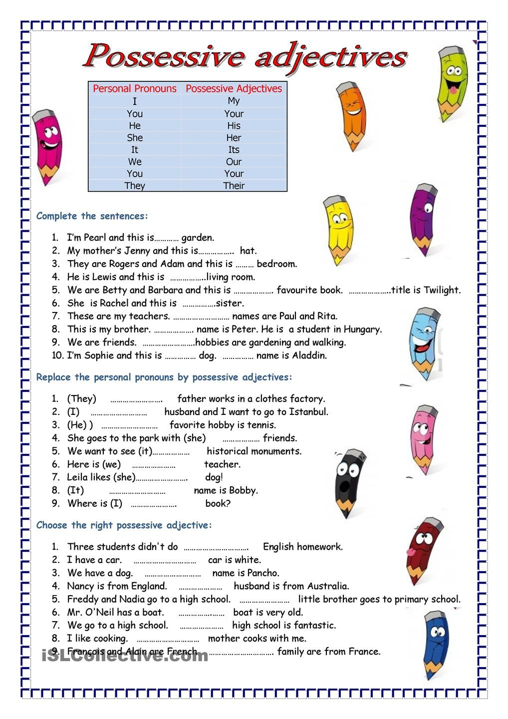 Adjectives English Grammar Worksheets Learn English Possessive Adjectives