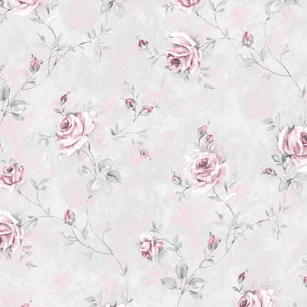 Norwall Painted Rose Trail Wallpaper, Pink/ Grey