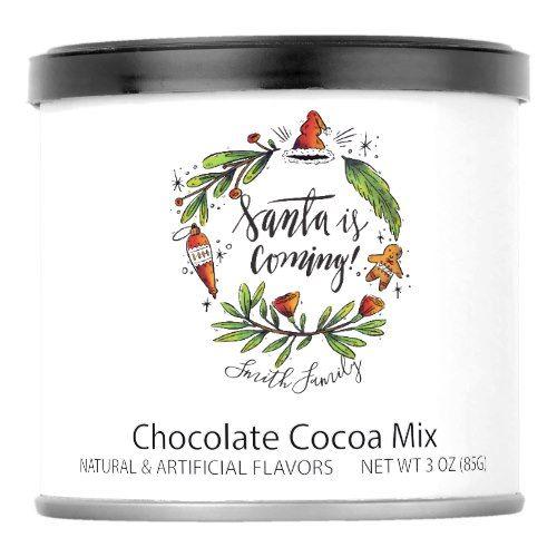 Santa Is Coming! Hand Drawn Wreath Ornament Hot Chocolate Drink Mix    Santa Is Coming! Hand Drawn Wreath Ornament Hot Chocolate Drink Mix