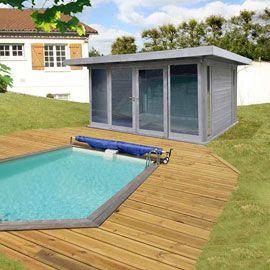 Abri de jardin en bois, toit plat gris 20 m² - CASTORAMA | Chalet ...