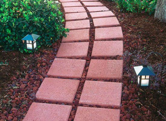 Lava Rock And Brick Pavers Make A Nice Garden Walkway