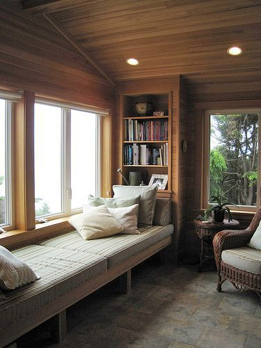 Mesmerizing Window Design For Small House To Be Inspired By: Large Window Seat... Loft Like Mini Library Idea... Read A Book Siting In The Sunroom And View