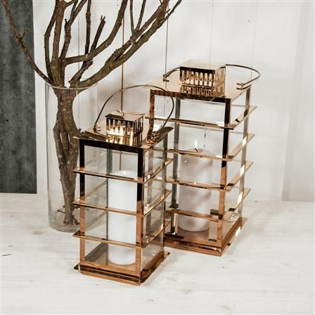 ACHICA | Large Caged Lantern, Copper
