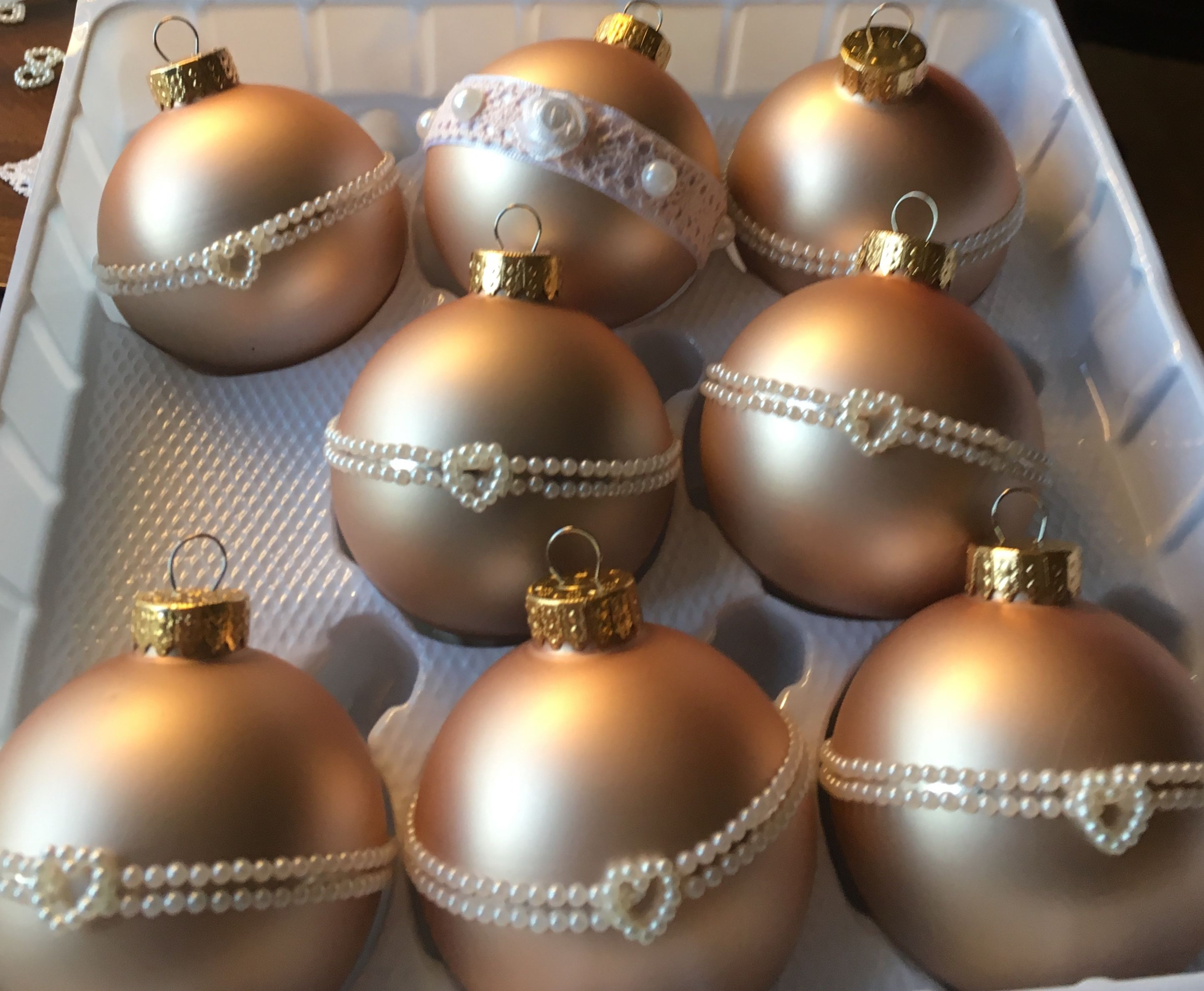 Rose gold ornaments for my tree Christmas tree ornaments