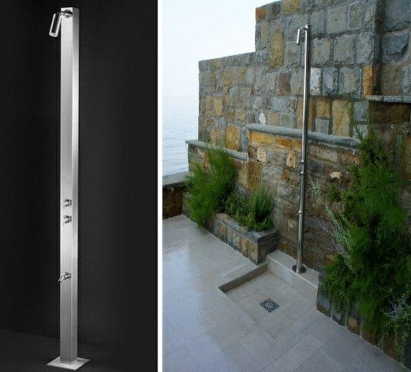 regendusche edelstahl konstruktion steinmauer garten terrassen - Solar Terrassen Dusche