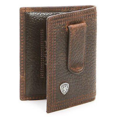 Ariat Bi-Fold Money Clip Leather Western Men/'s Wallet-Brown A35124282