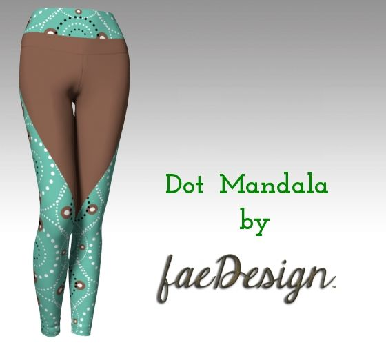 Dot Mandala yoga pants. Print by faeDesign. Our fabric is medium weight and sturdy, yet breathable. stretches to fit your body, hugs in all the right places and bounces back after washing. You can wear your leggings over and over and they won't lose their shape.
