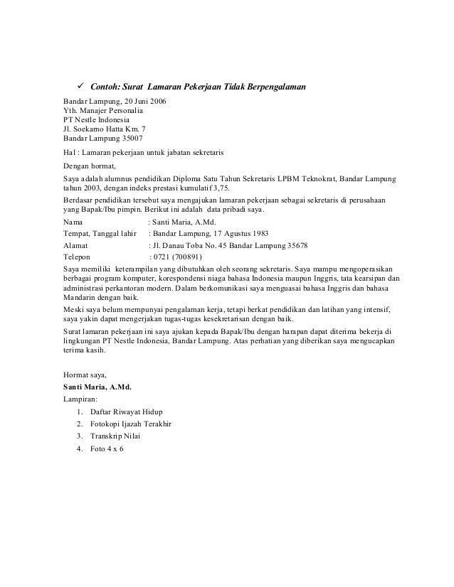 Surat Lamaran Kerja Non Pengalaman Pendidikan Pendidikan Dasar Surat