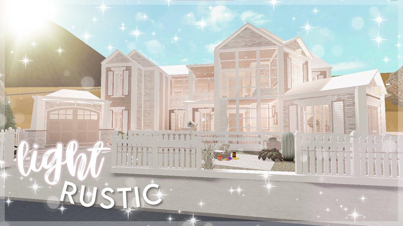 - light rustic farmhouse   bloxburg house build -