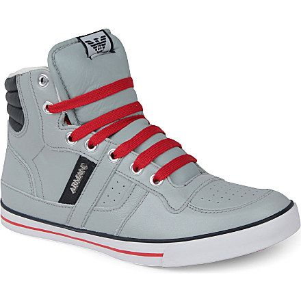 c7dd28ce0fb Armani – Quilted High-Top Trainers in Grey from Selfridges | shoe ...