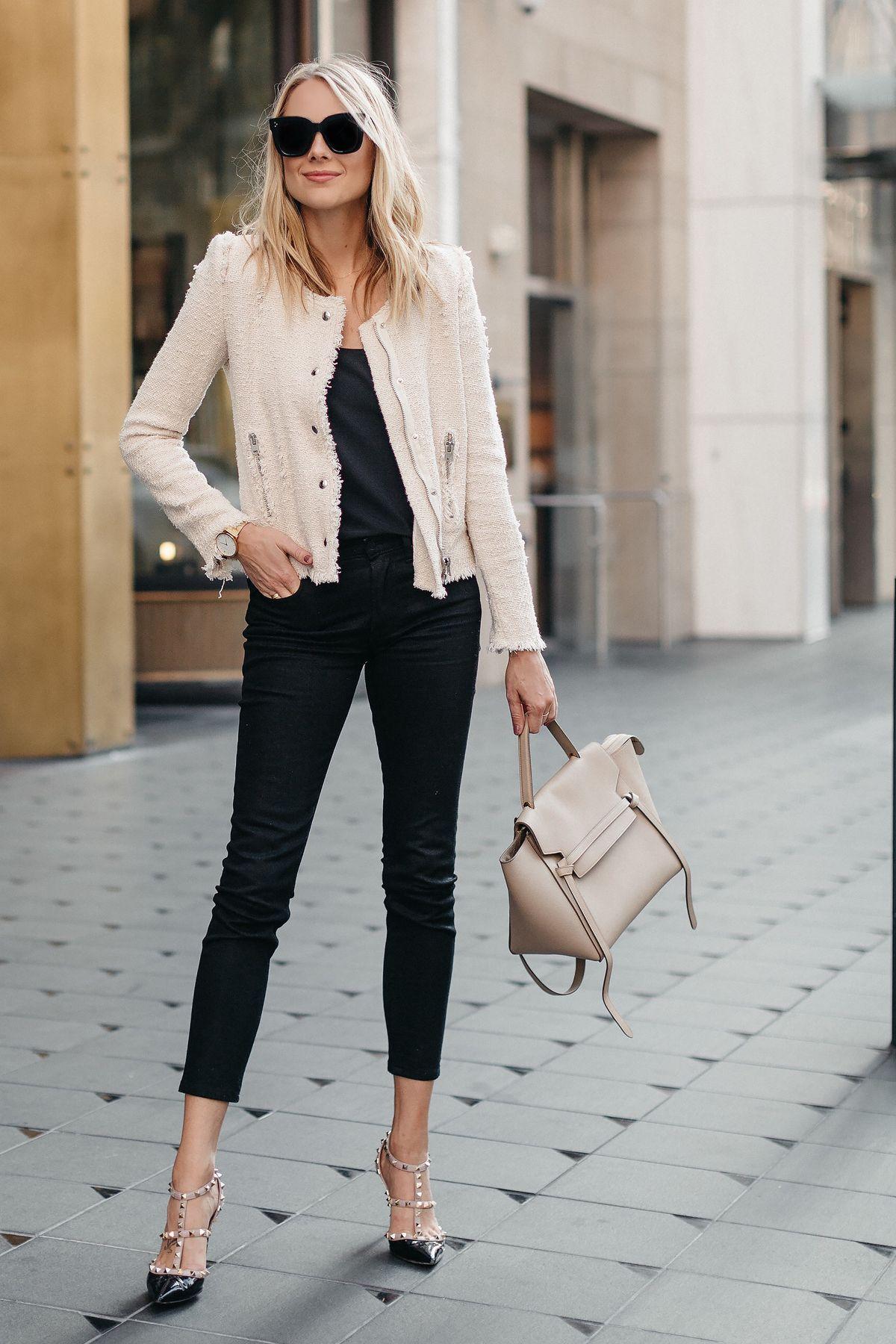 Blonde Woman Wearing IRO Agnette Tweed Jacket Black Skinny ...