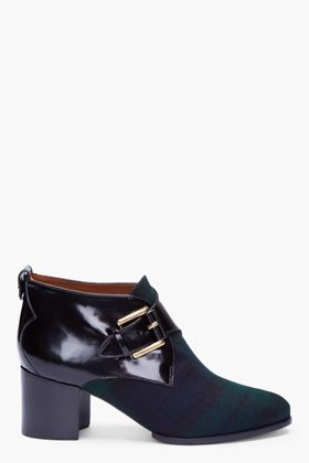 MCQ ALEXANDER MCQUEEN //  BLACK WATCH PLAID BUCKLED CREEPER BOOTS  22114F130002