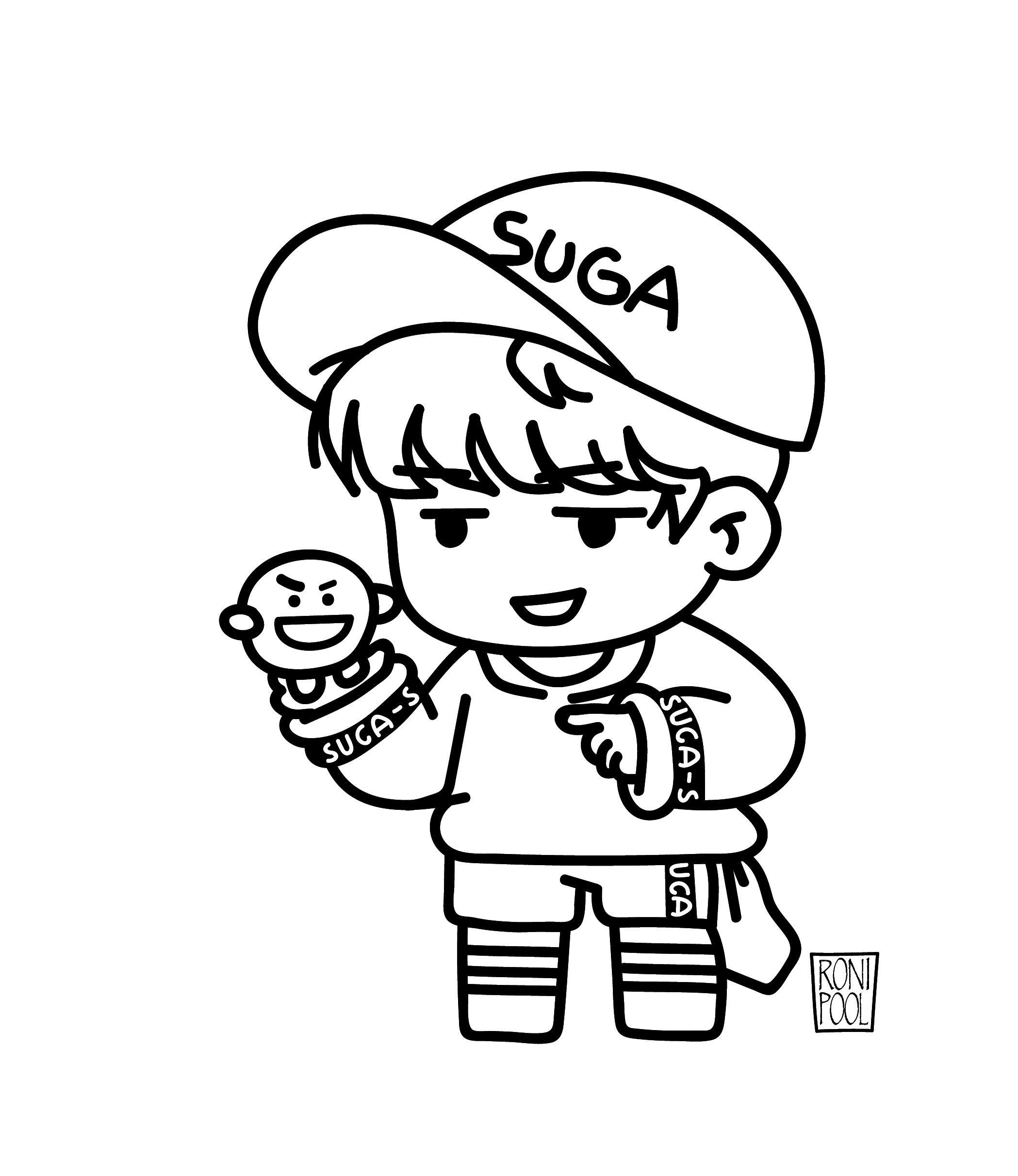 Bts Fanart Bt21 Suga Yoongi And Scooky Chibi Speed Drawing Roni Pool Bts Fanart Bts Drawings Chibi Coloring Pages
