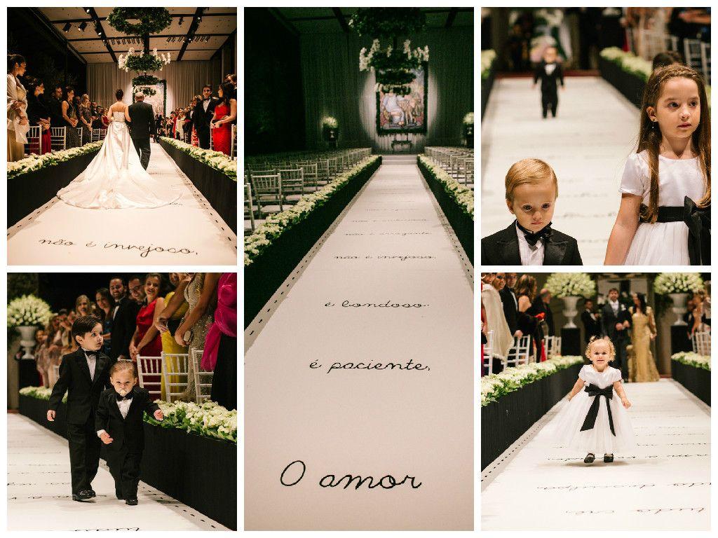 Entrada da noiva - daminhas e pajens - tapete personalizado - decoração sofisticada