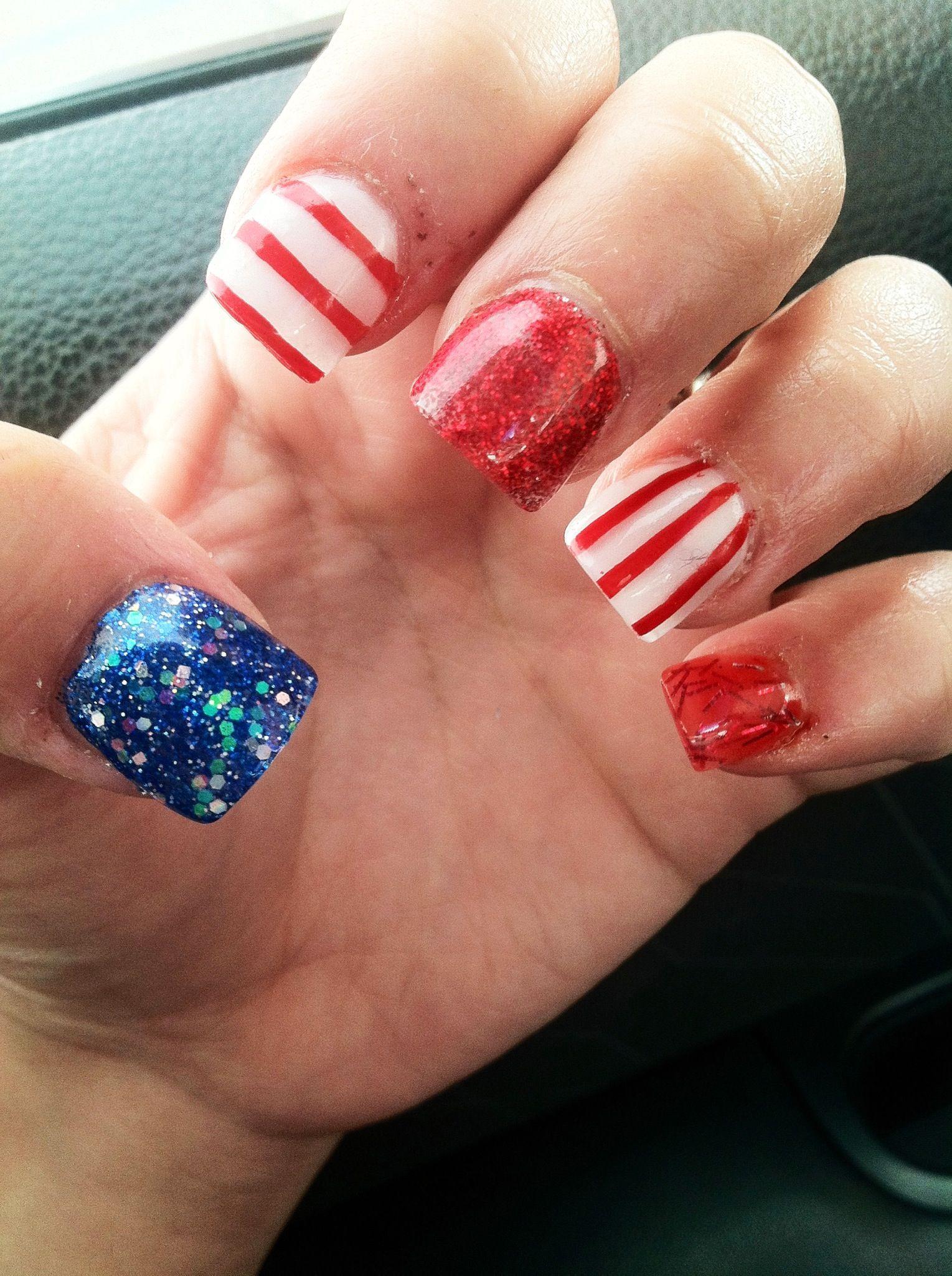 Festive 4th nails! #nails #nailart #america #4thofJuly