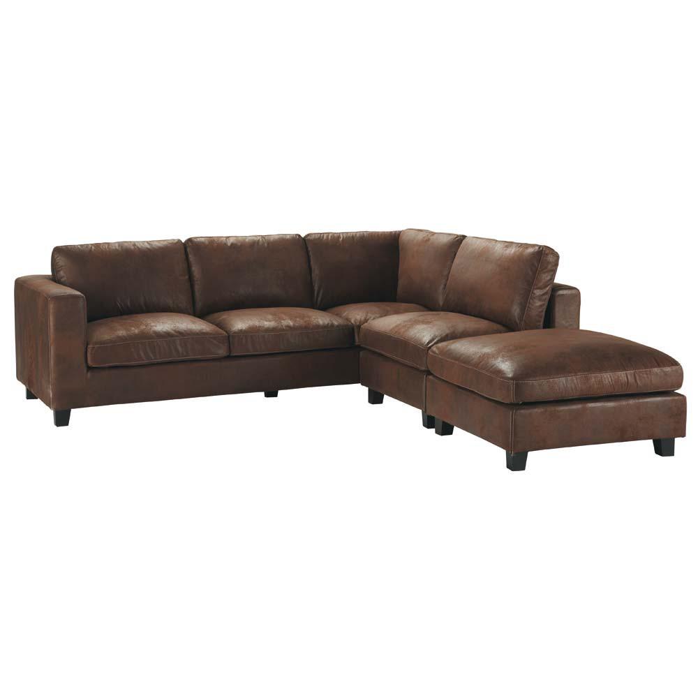 Canape D Angle 5 Places En Suedine Marron In 2020 Leather Corner Sofa Corner Sofa Sofa Furniture