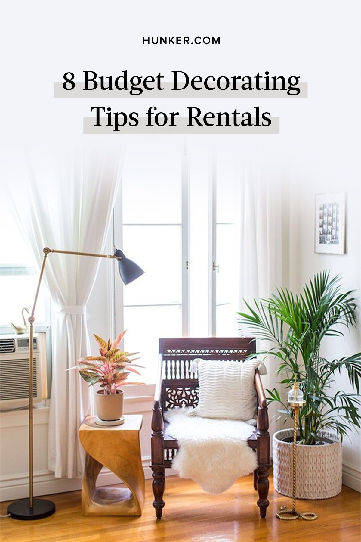 Here are eight creative, budget-friendly, and most importantly, transitory suggestions for decorating a space that you and your landlord will love. #hunkerhome #decor #homedecor #decorideas #budgetdecor #rentaldecor