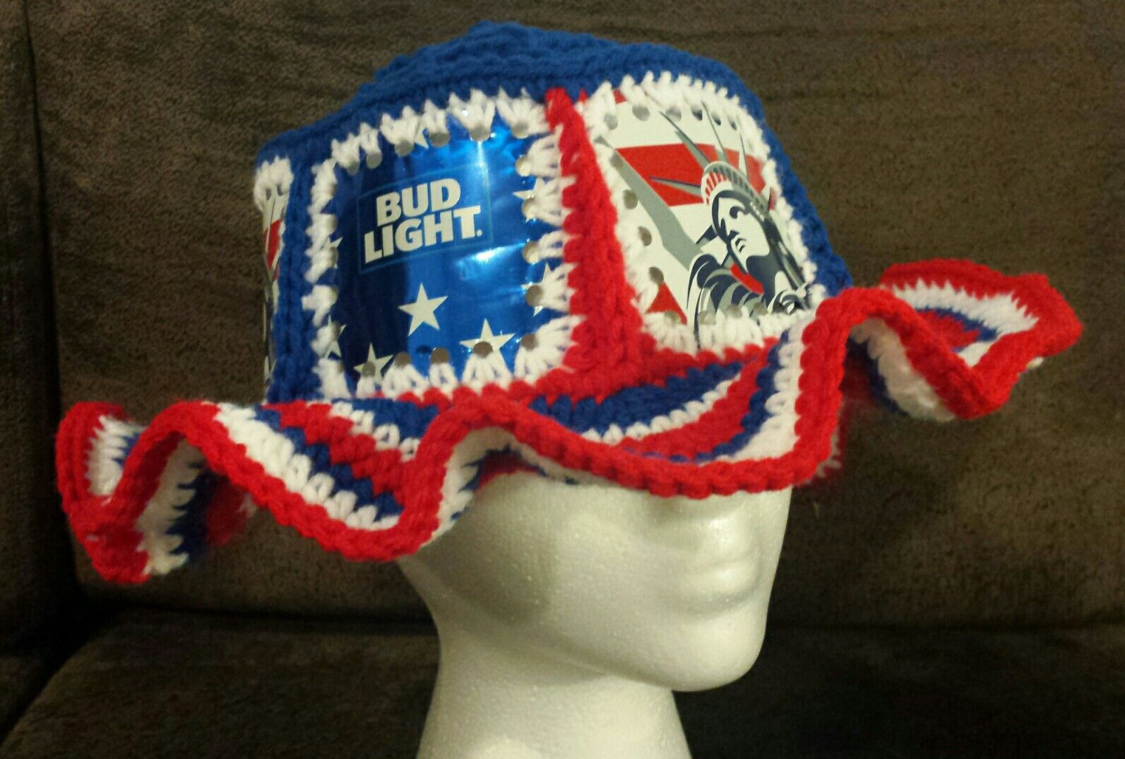 0c54d755eca Crochet beer can hat. Bud light and Budweiser cans. Fishlips the mad hatter  on Facebook.