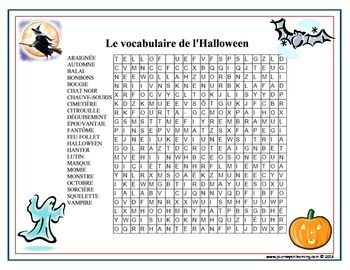 le vocabulaire de l halloween french halloween word search plus mots cach s halloween word. Black Bedroom Furniture Sets. Home Design Ideas