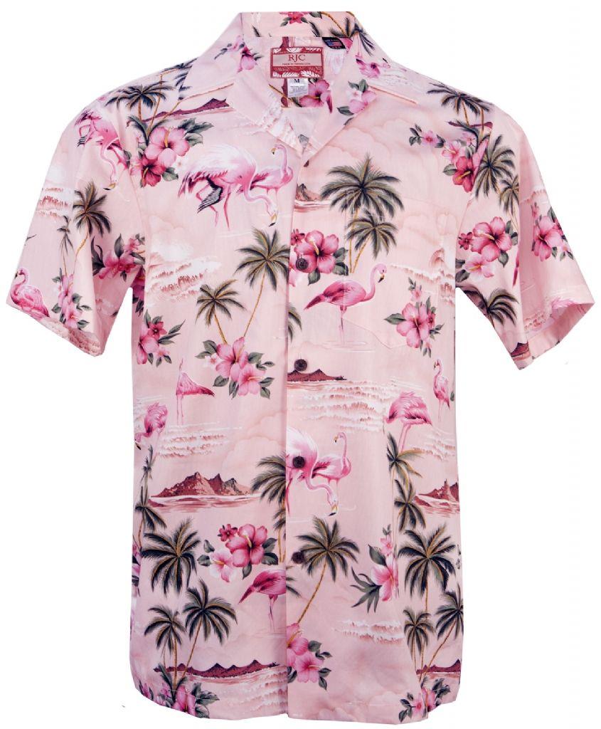 2a286d6486b7 Pink Flamingo Mens Hawaiian Aloha Shirt in Pink