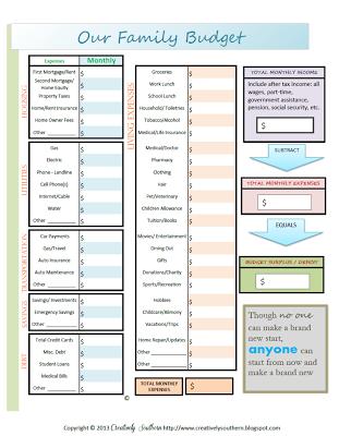 budget planning worksheets printable