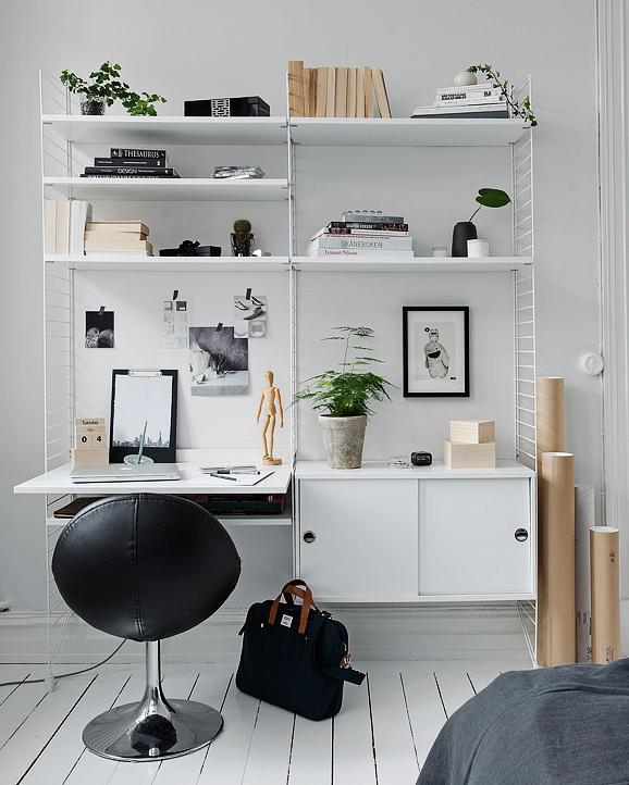 Gillar tanken att ha lite mer mellanrum mellan hyllplanen, där kan man ha något högre eller använda väggen för en tavla eller liknande.