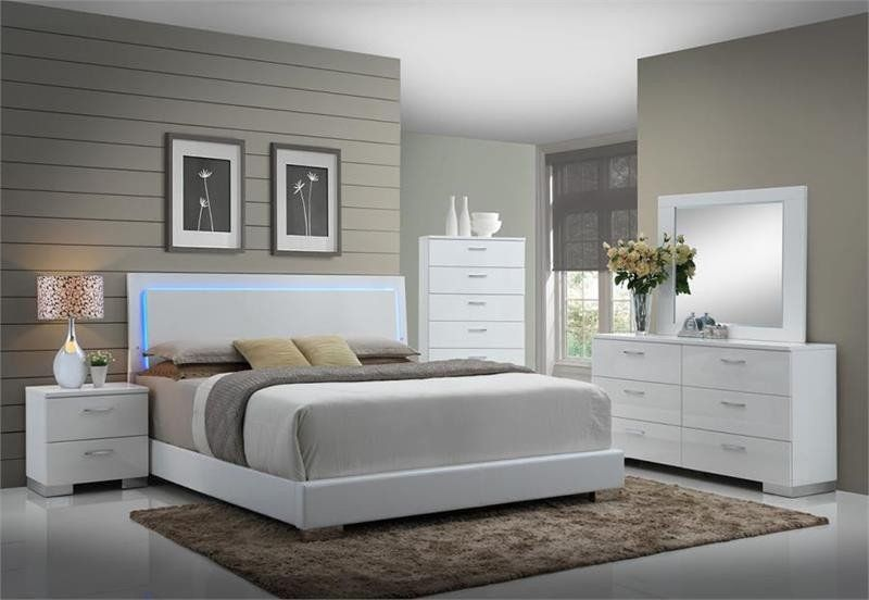 Contemporary Bedroom Set London Black By Acme Furniture: Coaster Felicity LED Platform 4 Pc Bedroom Set Las Vegas