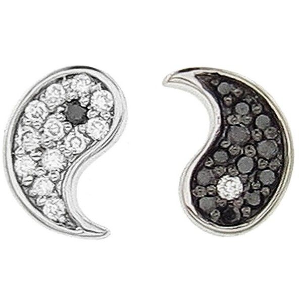 Sydney Evan Diamond Yin and Yang Stud Earrings (600 CAD) ❤ liked on Polyvore featuring jewelry, earrings, diamond earrings, black and white earrings, 14k earrings, black and white jewelry and long diamond earrings