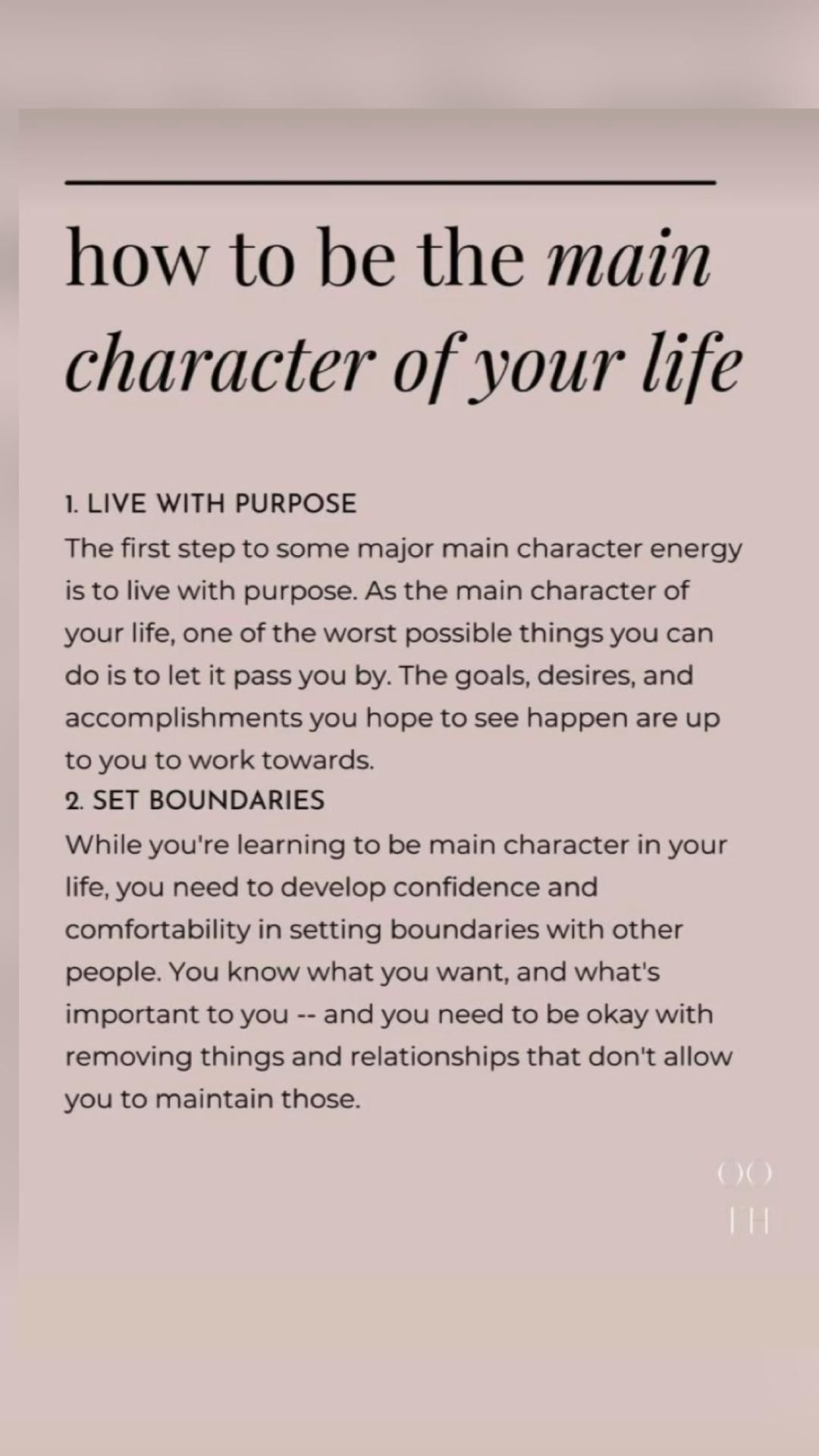 how to be the main character of your life