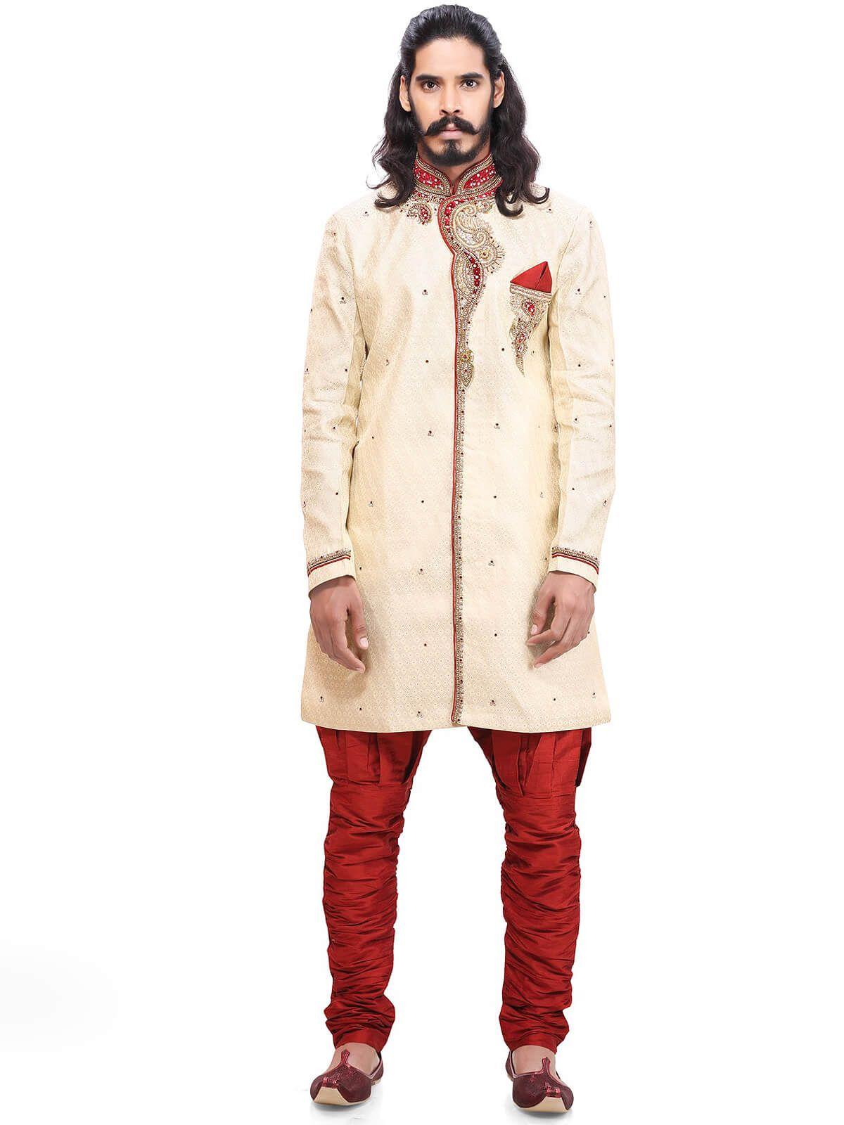 Ravishing red and cream wedding wear brocade kurta pyajama having