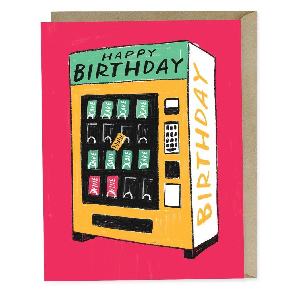 Happy Birthday Vending Machine Card With Images Birthday Cards