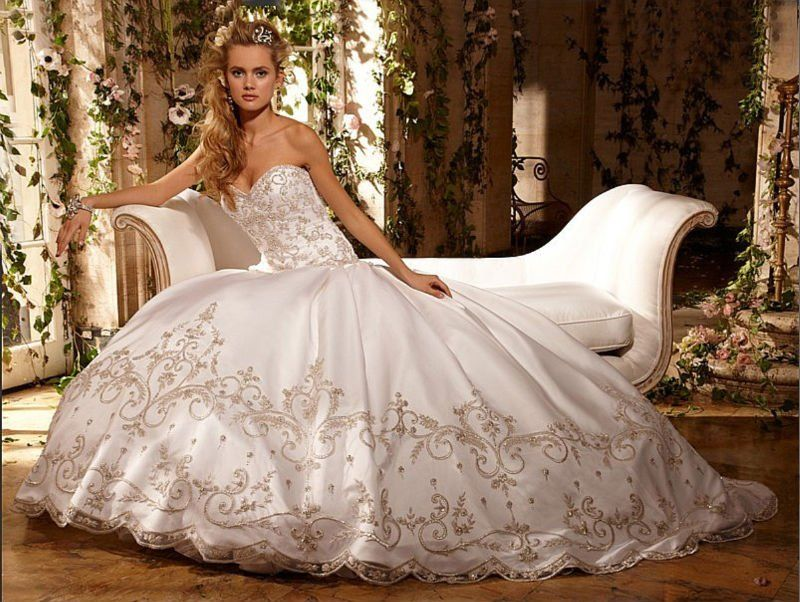 Eve Of Milady Couture Collection Style 4269 Cover Photo Solitaire Satin Strapless Ball Gown With Gold Silver Embroidery Available In White Ivory