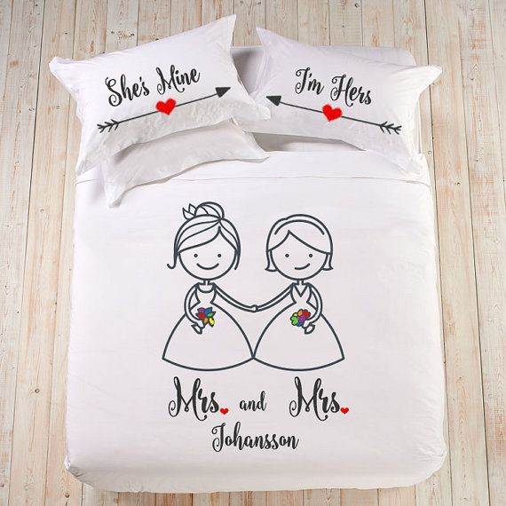 Gift for engaged couple Custom pillowcase Gay couple gift Romantic pillow Lesbian couple gifts Couple initials pillow Wedding gift