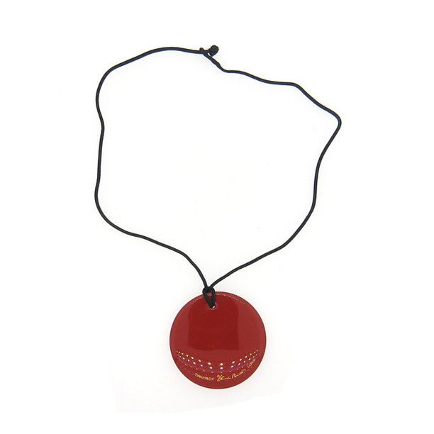 Tiffany & Co. Peretti Japan Red Lacquer Wood Round Pendant on Cord Necklace
