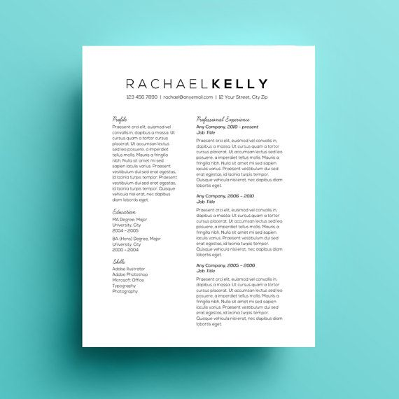 resume template  cover letter  ms word  black and white