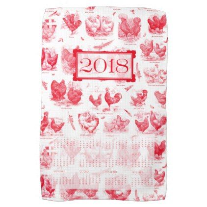 Victorian Poultry Envy 2018 Calendar  Red Kitchen Towel  Red Kitchen Awesome Kitchen Towel Decorating Inspiration