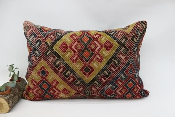 Organic Pillow, Black Pillow,Kilim Pillow Cover 16x24 Throw Pillow,Decor, Handwoven Pillow, Embroide