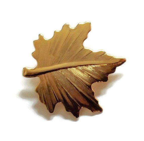 64e829453 Maple Leaf Brooch Pin In Gold Tone, Fall Jewelry, Autumn Jewelry, Leaf  Jewelry