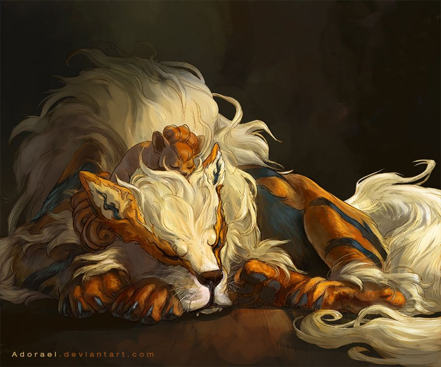 Arcanine and vulpix by Adorael.deviantart.com on @deviantART, did you know that arcanine was originally meant to be a legendary pokemon but was replaced by moltres. it is believed that they regreted this choice do to the fact that entie was introduced in the very next gen.