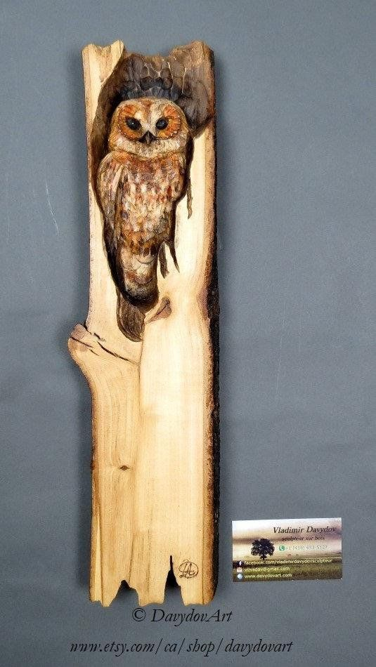 Wooden Gift Owl Wood Carving Wall Art Wooden Bird Decoration Unique ...