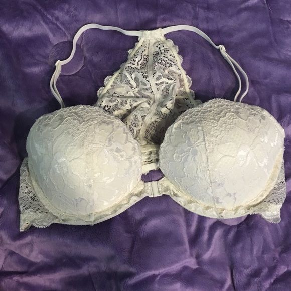 PINK Victoria's Secret Date Racerback Bra PINK Victoria's Secret Date Racerback Bra. Front clip. White lace. Worn once. In great condition! PINK Victoria's Secret Intimates & Sleepwear Bras