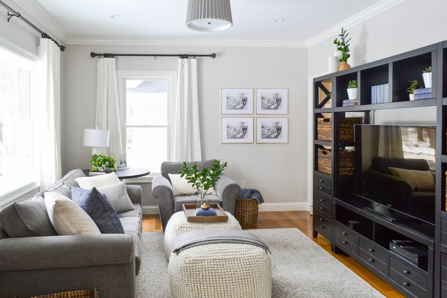 Gray Oak Studio Hutchins Project Living Room Modern Cozy This Family Room Uses A Neutral Palette Gray Quality Living Room Furniture Family Room Grey Oak