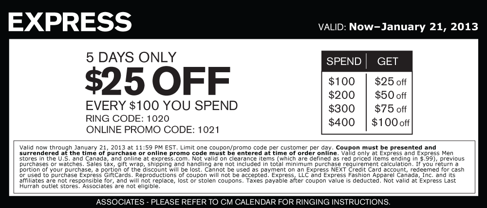 25 Off Every 100 At Express Or Online Via Promo Code 1021 Coupon Via The Coupons App Promo Codes Online Printable Coupons Coupon Apps