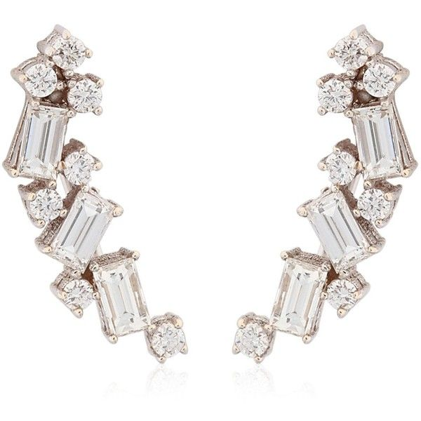 1110f785e Sarah Noor Women Baguette Cluster Earrings (21.160 RON) ❤ liked on Polyvore  featuring jewelry, earrings, white gold, white gold jewellery, earrings  jewelry ...