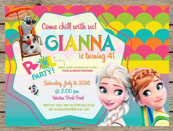 Frozen Summer Invitation Frozen Pool Party by PlayOnWordsArt