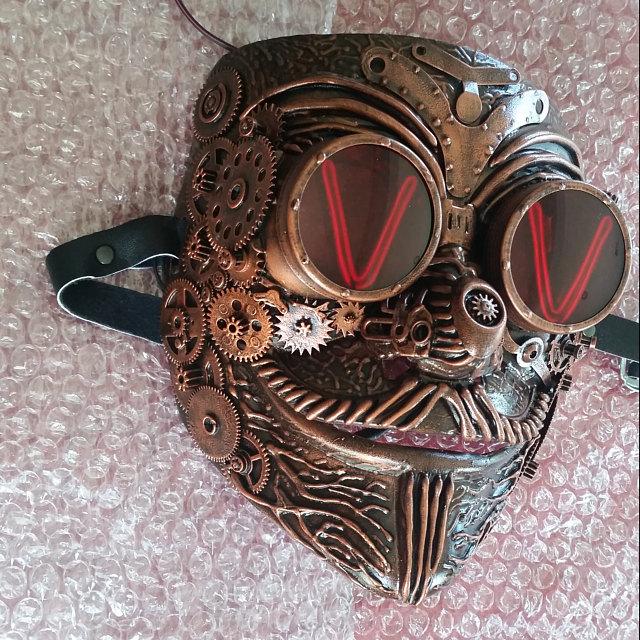 Steampunk Skull Brushed Gold Halloween Masquerade Mask