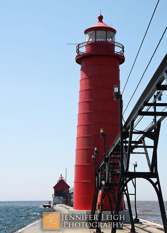 Grand Haven Lighthouse & Pier  Michigan  5x7 by ByJenniferLeigh, $12.00