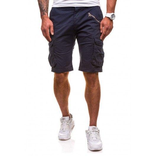 Letní pánské šortky modré barvy s kapsou na boku na zip - manozo.cz Self a4e5fdbdd7