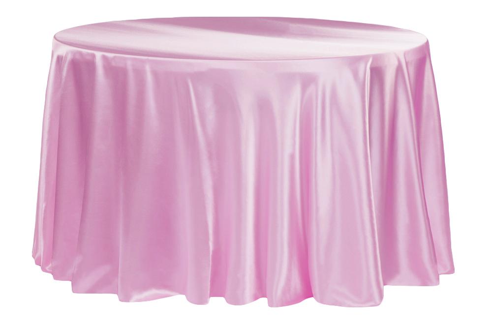 Satin 132 Round Tablecloth Medium Pink Table Cloth 120 Round